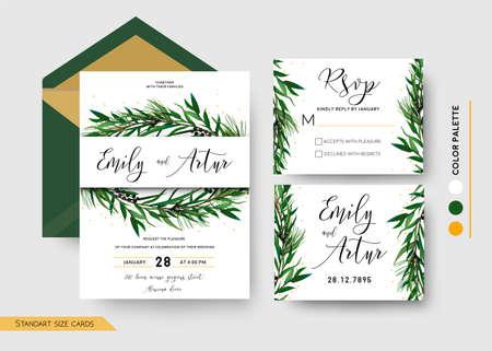 結婚式の招待状は、日付を保存します, rsvp招待カードデザイン: 松スプルースの木の緑の枝ユーカリ緑の葉 写真素材 - 92856284