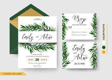 Wedding Invitation save the date, rsvp invite card Design: Pine spruce tree greenery branches Eucalyptus Green leaf