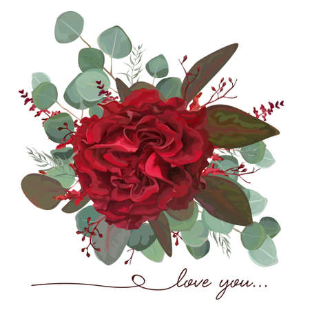 Vector floral bouquet design: garden red burgundy Rose flower, seeded antique Eucalyptus branch, marsala amaranthus, silver green fern leaves Watercolor designer element. Illustration