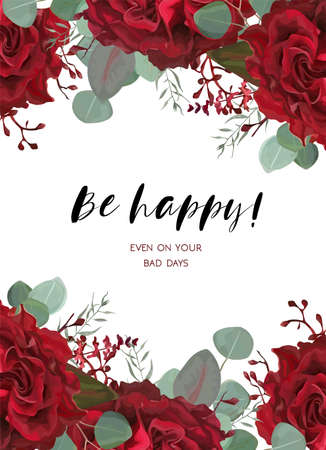 ベクトル水彩花の花束と庭の柔らかい赤いバーガンディローズの花、種のユーカリの枝と花のカードデザイン 写真素材 - 92882366