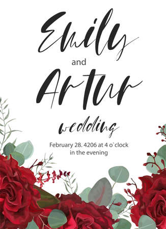 Wedding invite, invitation, save the date card with vector floral bouquet frame design: red, burgundy Rose flower,Eucalyptus branch, silver green fern leaves, Watercolor designer element. Greeting postcard.