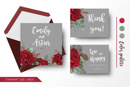Wedding invite, invitation, thank you, greeting rsvp gray card templates set. Vector watercolor floral bouquet design: red marsala burgundy Rose flower, seeded Eucalyptus branch & silver green leaves 일러스트