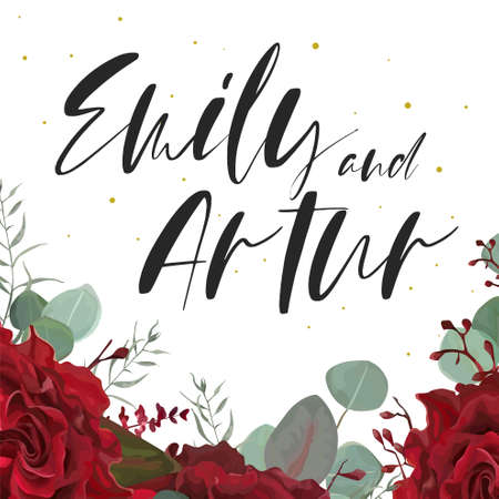 Wedding elegant invite, save the date card with floral bouquet frame: red, burgundy garden Roses flowers, Eucalyptus branch,  silver green leaves. Vector, watercolor style template design.