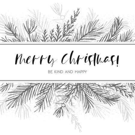 Merry Christmas greeting card, postcard vector design: hand drawn silver gray ink winter tree, pine needles, juniper branch, blue spruce, cedar leaf border frame. Winter cute invite wedding invitation