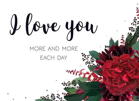 Floral valentine's card design. Illustration