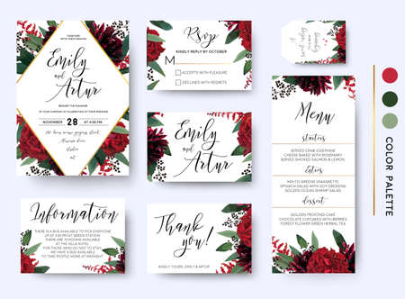 Wedding invite, invitation save the date rsvp thank you information cards set. Vector watercolor floral bouquet rhombus frame design: red burgundy Rose flower green leaves Eucalyptus branch & berries