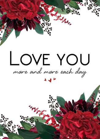 Vector floral greeting Valentine gift card design.