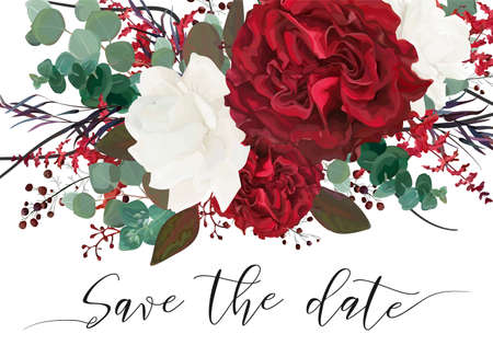Wedding save the date, invite, invitation, card vector floral bouquet design with garden red, burgundy Rose flower, white peony, seeded Eucalyptus branches, berry, purple agonis, fern, greenery leaves 일러스트