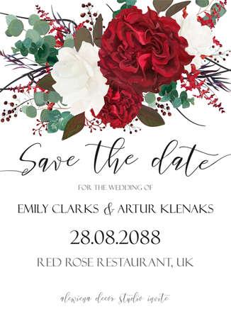 結婚式は、日付、招待状、招待状、カードベクトルを保存します。  イラスト・ベクター素材