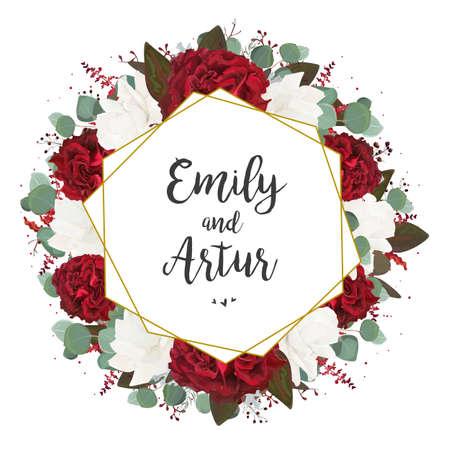 Wedding invite, invitation, save the date card design. Vettoriali