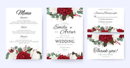 Wedding invite, invitation, save the date card with vector floral bouquet frame design. Vettoriali