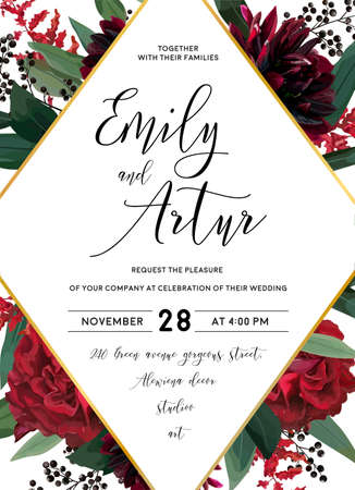 Wedding vector Floral invite, invitation save the date vector card design: garden red burgundy rose flower eucalyptus greenery foliage branches, berries boho stylish and rhombus geometric golden frame.