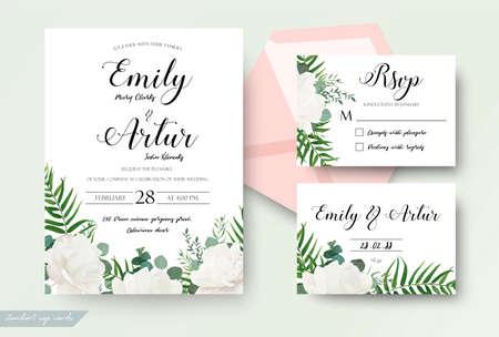 Bruiloft kaarten bloemmotief.