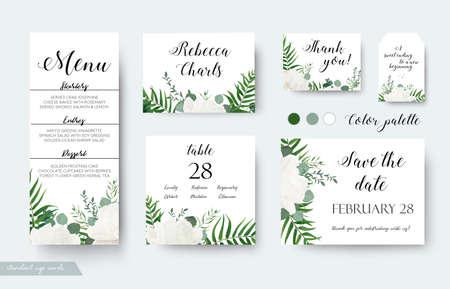Conception florale de cartes de mariage.