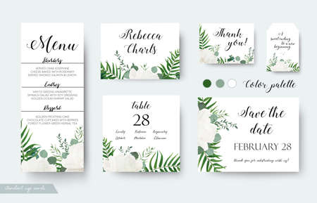 Wedding cards floral design. Vettoriali
