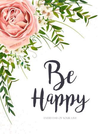 Blumenmuster der Vektorkarte mit lila rosa Gartenrosenblume, grünen Aquarell-Eukalyptus-Grünblättern, Pflanzen, Kräuterstraußrahmen. Eleganter, romantischer Gruß, Einladung, Postkarte. Sei fröhlicher Text