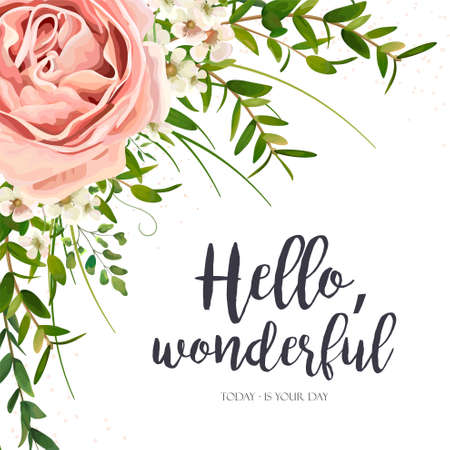 Vector card floral design: purple pink garden rose flower, green watercolor eucalyptus greenery leaves, plants, herbs bouquet frame. Elegant, romantic greeting, invitation, postcard. Text space layout