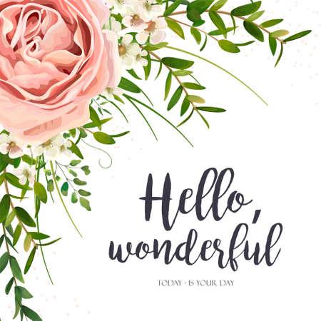Vectorkaart bloemenontwerp: de purpere roze tuin nam bloem, de groene bladeren van het waterverfseucalyptus groen, installaties, het kader van het kruidenboeket toe. Elegante, romantische groet, uitnodiging, briefkaart. Tekst ruimte lay-out Stock Illustratie