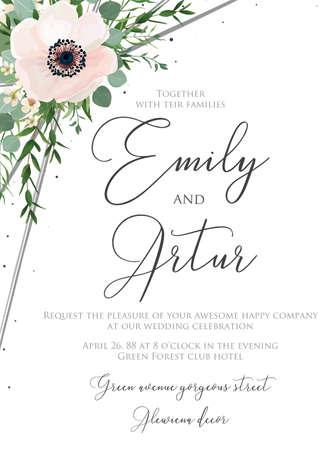 Invito a nozze stile acquerello floreale, invito, salva il design della carta data con papaveri anemoni bianchi e rosa, rami di eucalipto verde bosco Vettoriali