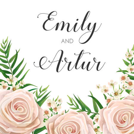 Wedding Invitation, floral invite card Design with creamy white garden rose flowers, wax flower, green tropical forest palm tree leaves greenery border, frame.