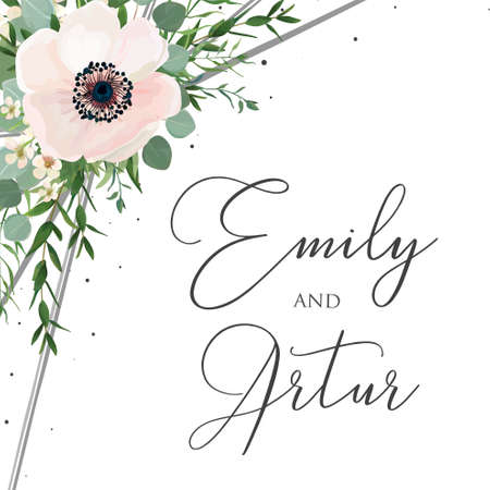 Wedding floral watercolor style invite, invitation, save the date card design with white anemones poppies, forest green eucalyptus branches
