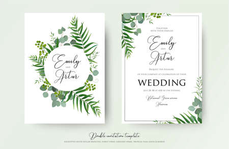 Wedding Invitation, floral invite thank you, RSVP modern card Design: green tropical palm leaf greenery eucalyptus branches decorative wreath
