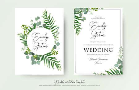 Faire-part de mariage, invitation florale merci, carte moderne RSVP Conception: couronne de fleurs décorative de feuilles de palmiers tropicaux verts et d'eucalyptus