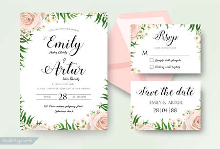 Wedding floral watercolor style invite, RSVP save the date thank you card Design with creamy white garden rose, wax flowers, green tropical palm tree leaves greenery decor. Vector elegant template set