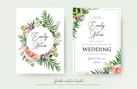 Invito a nozze floreale elegante invito, grazie, carta rsvp disegno vettoriale: rosa da giardino, fiore rosa pesca, cera bianca, succulento, pianta di cactus, verde eucalipto verde tenero, bouquet alla moda di bacche