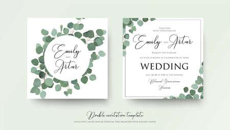 結婚式の花の水彩画スタイルのダブル招待状、招待状は、緑の葉とかわいい銀ドルユーカリの木の枝で日付カードのデザインを保存します。ベクト