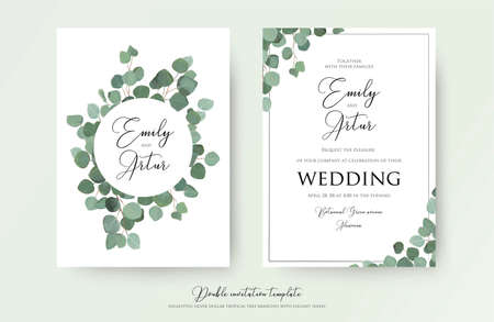 Wedding floral watercolor style double invite, invitation, save the date card design with cute Eucalyptus tree branches with greenery leaves decoration. Vector natural elegant, rustic luxury template Vettoriali