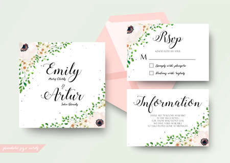 Wedding floral watercolor style invite, rsvp, save the date, thank you card Design with pink, creamy white anemone, wax flowers, forest green forest fern leaves greenery decoration. Vector elegant set Illustration
