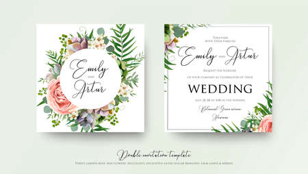 Wedding floral invite invitation card Design with lavender pink violet garden rose, green tropical palm leaf greenery eucalyptus branches decoration. Vector elegant watercolor rustic cute template set.
