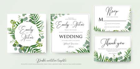 O convite do casamento, floral convida, obrigado, design de cartão moderno do rsvp: hortaliças em folha de palmeira tropicais verdes, ramos do eucalipto, impressão decorativo do quadro da folha. Modelo rústico aquarela elegante de vetor. Ilustración de vector