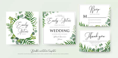 Wedding invitation, floral invite, thank you, rsvp modern card design: green tropical palm leaf greenery, eucalyptus branches, foliage decorative frame print. Vector elegant watercolor rustic template. Vectores