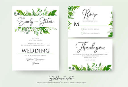 Wedding Invitation, floral invite, thank you, rsvp modern card Design: green fern leaves greenery, eucalyptus branches, forest foliage decorative frame print. Vector elegant watercolor rustic template.