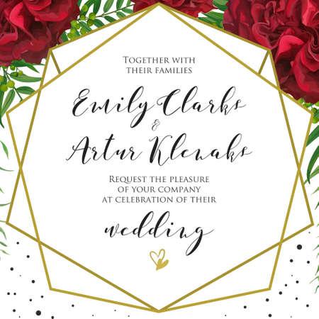 結婚式の花の招待、赤いバーガンディのバラの花、ヤシの葉、緑のベリー、エレガントな幾何学的なゴールデンフレームと黒の水玉模様の装飾と招