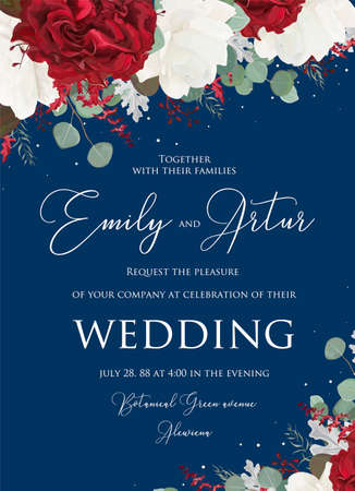 Wedding floral invite, invitation save the date card design with red and white garden rose flowers, seeded eucalyptus branches, leaves, amaranthus bouquet on navy blue background. Vector cute template Illustration