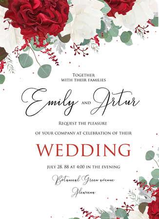 Hochzeitsblumen laden, Einladungsblumenstrauß von Rosen, gesäte Eukalyptusniederlassungen ein.