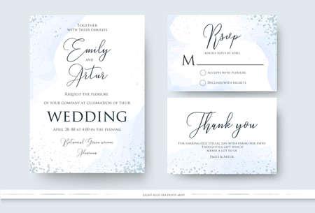 Invitación de boda, gracias, diseño de tarjeta rsvp con decoración abstracta de estilo acuarela en color azul claro y polvoriento sobre fondo blanco. Vector moderno diseño de arte romántico moderno, plantilla Ilustración de vector