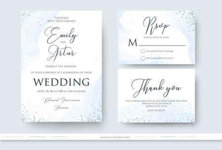 Wedding invite, thank you, rsvp card design set with abstract watercolor style decoration in light tender dusty blue color on white background. Vector trendy modern romantic art layout, template