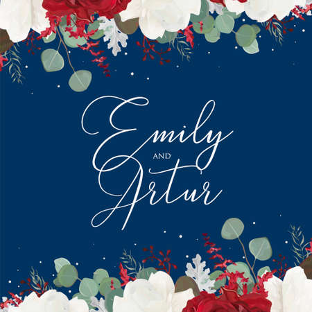 Wedding floral invite, invitation save the date card design with red and white garden rose flowers, seeded eucalyptus branches, leaves, amaranthus frame on navy blue background. Vector trendy layout 일러스트