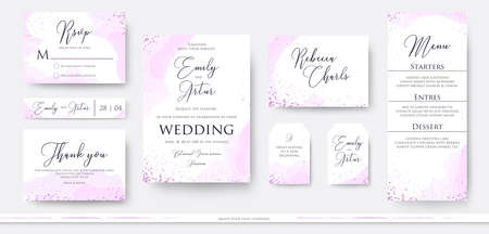 Wedding invite thank you, rsvp menu card design set with abstract watercolor decoration in light tender dusty pinkm rosy and violet color on white background. Vector trendy modern romantic art layout