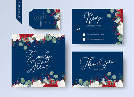 Wedding floral invite, thank you, rsvp card design set with red and white garden rose flowers, seeded eucalyptus branches, leaves, amaranthus frame on navy blue background. Vector trendy layout