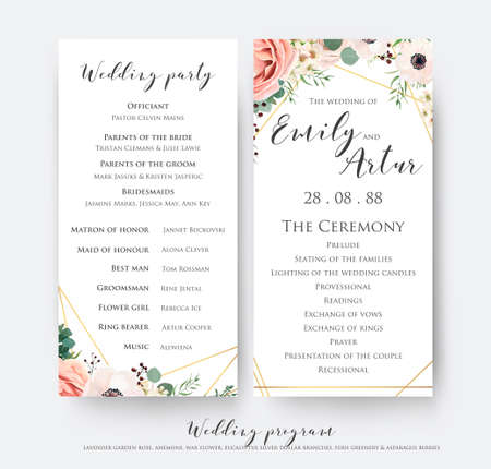 Wedding program for party & ceremony card design with elegant lavender pink garden rose, anemone, wax flowers, eucalyptus branches, leaves & cute golden geometrical pattern. Vector beauty template set