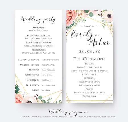 Programa de bodas para el diseño de tarjetas de fiesta y ceremonia con elegante rosa de jardín rosa lavanda, anémona, flores de cera, ramas de eucalipto, hojas y lindo patrón geométrico dorado. Conjunto de plantillas de belleza de vector