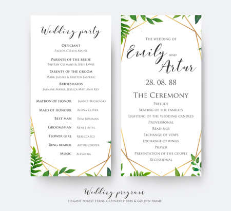 Wedding program card for ceremony and party with modern vector, floral, botanical design with green forest fern leaves, greenery border and elegant, golden, geometrical decoration. Beautiful template Vettoriali
