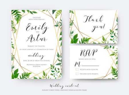 Wedding floral invite, invitation, rsvp, thank you card template set. Vector modern, botanical card design with green forest fern leaves, greenery herbs border with luxury Geometric decoration