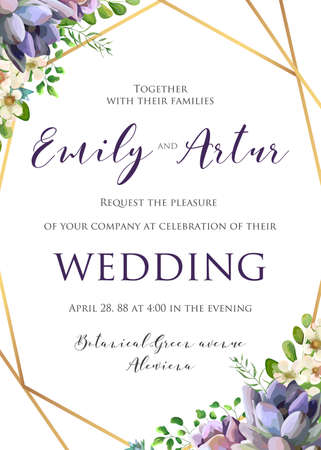 Wedding floral invitation, invite, save the date template. Stock fotó - 95558975