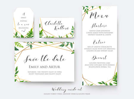 Wedding floral save the date, menu, place card & label template set. Vector modern, botanical card design with green forest fern leaves, greenery herbs border with luxury Geometrical golden decoration